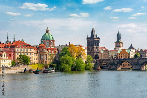 Prague cityscape with Old Town Bridge Tower and Charles bridge over Vltava river, Czech Republic