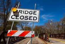 Bridge Closed Sign On USA Local Road In Pittsburg