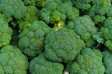 A Box Of Green Broccoli Heads In A Market.