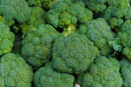 A box of green broccoli heads in a market. Wallpaper Mural