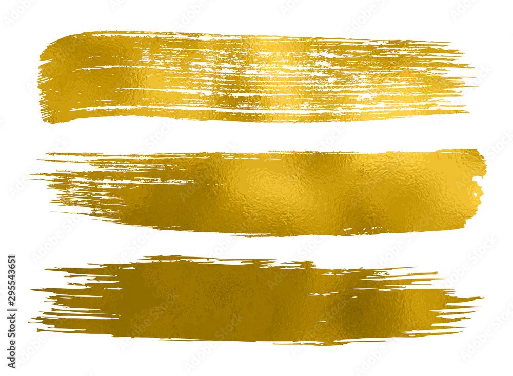 Kolekcja złota farba, pociągnięcia pędzlem - wektor