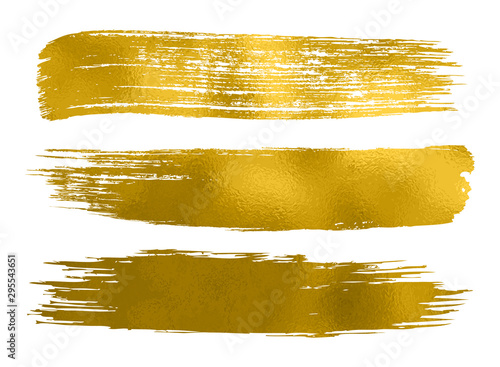 Collection of gold paint, brush strokes – vector Canvas Print
