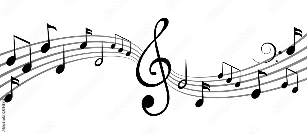 Fototapeta Music notes wave, group musical notes background – vector for stock