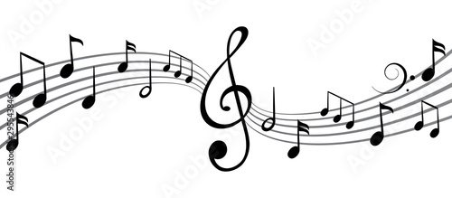 Fototapeta Music notes wave, group musical notes background – vector for stock obraz