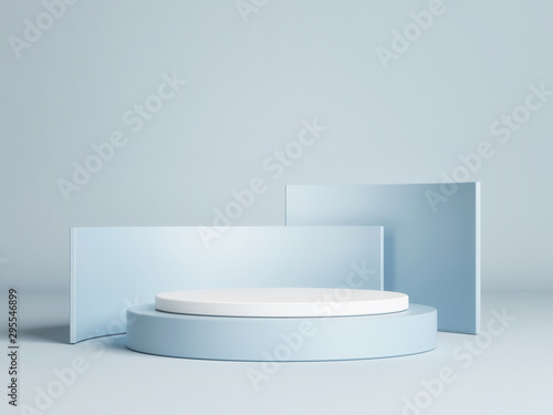 Foto Mock up winner podium on blue background, 3d render, 3d illustration