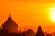 Leinwanddruck Bild - Sunset at Bagan, Myanmar with temples in the Archaeological Park, Burma. Sunrise