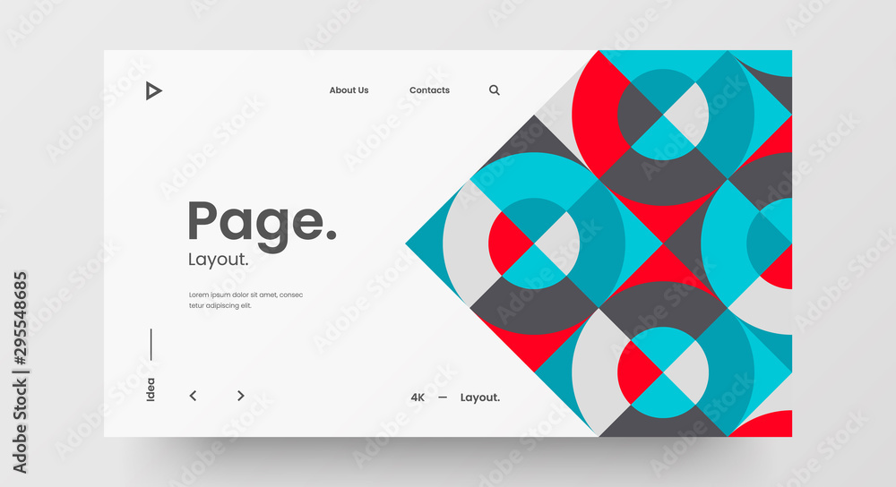 Fototapeta Creative horizontal website screen part for responsive web design project development. Abstract geometric pattern banner layout mock up. Corporate landing page block vector illustration template.
