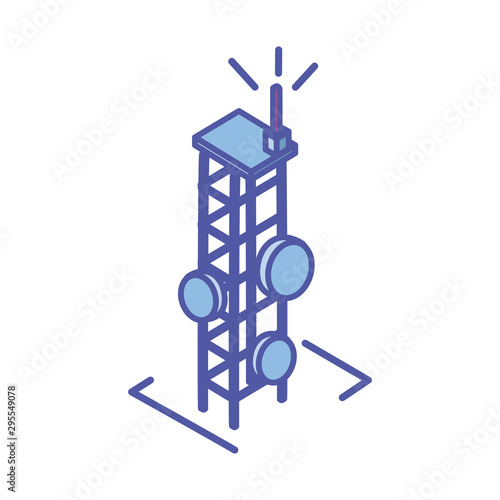 Cuadros en Lienzo telecommunications tower in white background