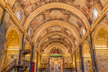 VALLETTA, MALTA - NOVEMBER 7, 2017: Interior Of St John's Co-Cathedral In Valletta, Malta