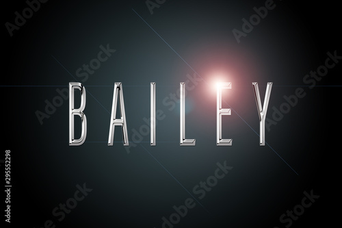 first name Bailey in chrome on dark background with flashes Canvas Print