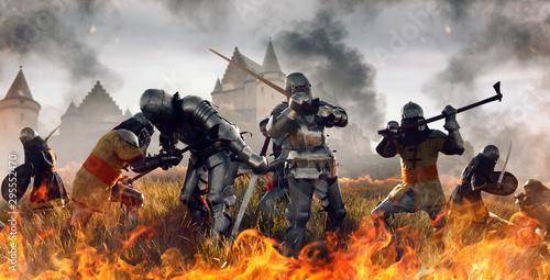 Naklejki historyczne medieval-battle-of-knights-in-fire