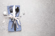 canvas print picture - Cutlery set on grey table, top view with space for text. Christmas celebration