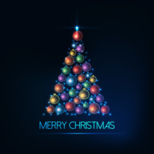 Merry Christmas Greeting Card With Christmas Tree Made Of Glowing Colorful Baubles And Lights.