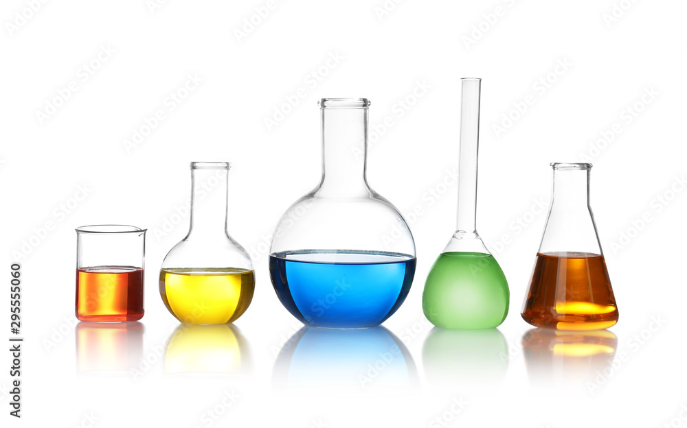 Fototapety, obrazy: Laboratory glassware with color liquids on white background