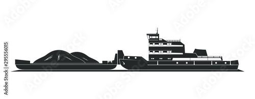Obraz na plátně Tugboat pushing barges
