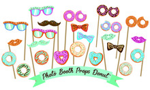 Photo Booth Props Donut, Printable Photo Booth Props, Booth Prop Party Elements, Donut Party Printables, Donut Birthday Party
