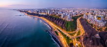 Aerial View Of Lima City From Miraflores At Blue Time.