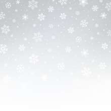 Silver And White Pattern With Snowflakes. Christmas Vector Abstract Background.