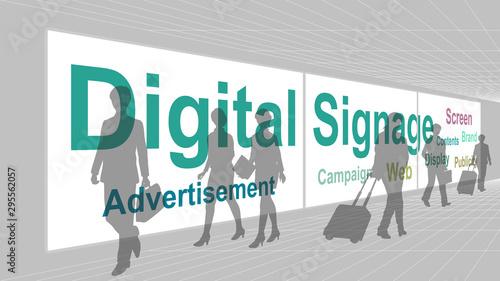 Fotomural Digital signage (Multi-Monitor) in aisle