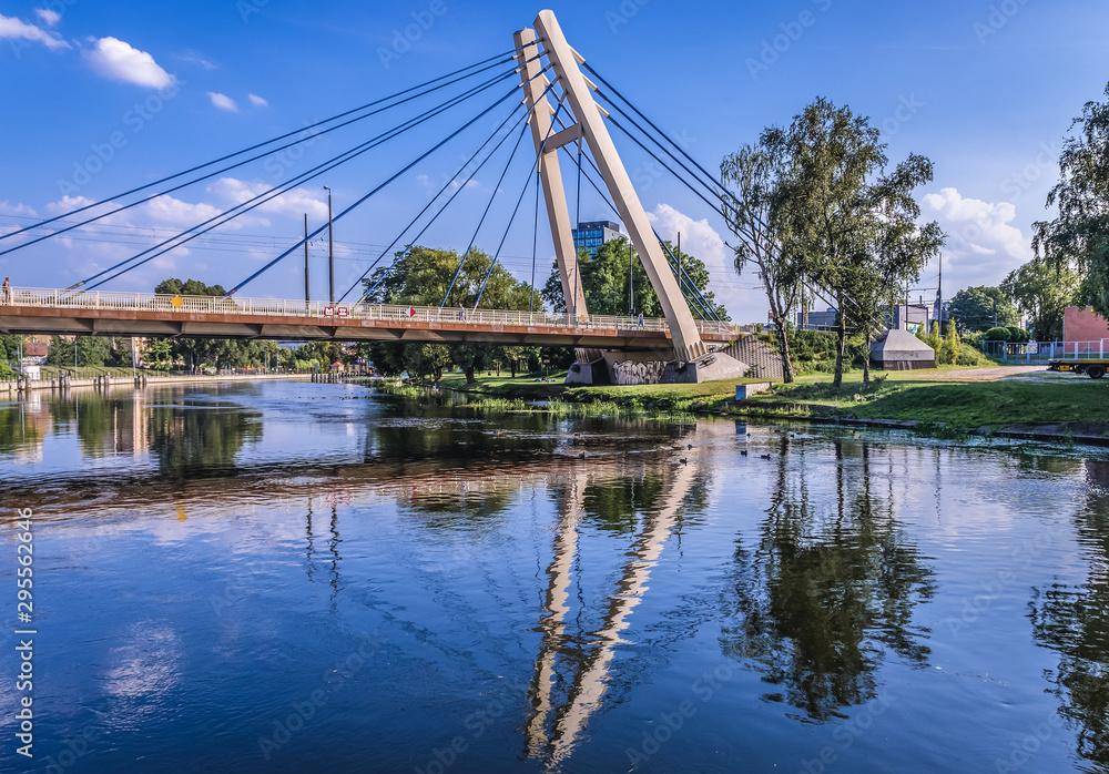 Fototapety, obrazy: View on the River Brda with bridge of Wladyslaw Jagiello in Bydgoszcz, Poland