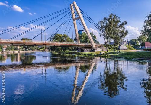 Montage in der Fensternische Brücken View on the River Brda with bridge of Wladyslaw Jagiello in Bydgoszcz, Poland