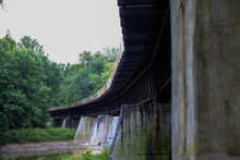 Curved Train Bridge Crossing The Wabash River