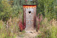An Outhouse In A Wooded Area W...