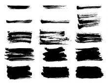 Grunge Ink Strokes In Chinese Calligraphy Style Vector Background. EPS10.