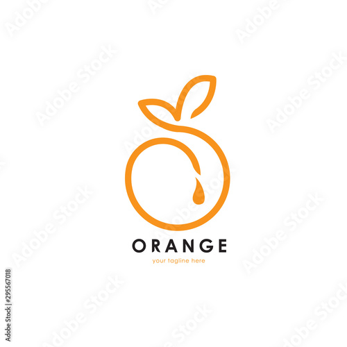 Healthy orange fruit logo. This logo is suitable for fruits store or modern cafe or restaurant, food nutrition, healthy food and others. Vector illustration - 295567018
