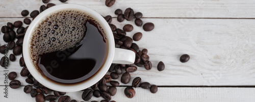 Keuken foto achterwand Cafe Coffee on white wooden textured background, banner concept