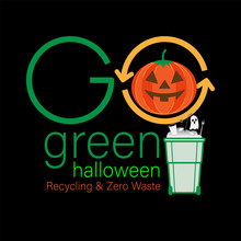 Go Green Halloween Typographic Design. Finding Way To Reduce Waste By Recycling. Celebrate In Sustainable Style. Vector Illustration Outline Flat Design Style.