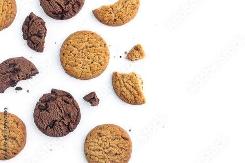 homemade chocolate chips cookies and butter cookie on white background in top view