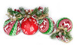 Christmas composition from Christmas decorations on a white background, blank for design