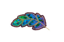 Brooch Feather Of The Zhar Bird Peacock Embroidered Beaded On White Background, Isolated