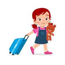 Happy Cute Kid Girl Pull Bag With Teddy