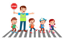 Happy Good Man Help Kids Cross...