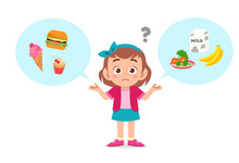 Happy Cute Kid Girl Think Choose Food