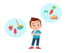 Happy Cute Kid Boy Think Choose Food