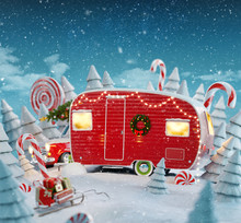 Santa's Christmas Red Camper