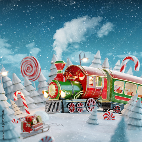 Foto op Canvas Londen Santa's Christmas train