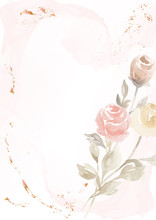 Vector Pastel Pink Background With Drawn Rose Flower