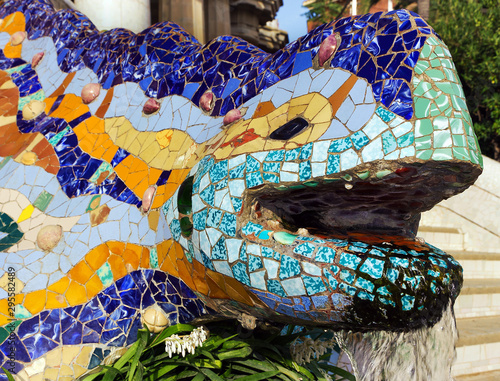 Foto op Canvas Barcelona Mosaic Tiles Park Guell in Barcelona, Spain.