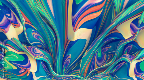 Bright background with a volumetric pattern and print. 3d illustration, 3d re...