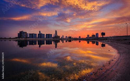 Beautiful Bahrain skyline during sunset. Fototapet