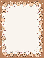 Cute Cozy Banner With Cut In Half Apples Elements. Autumn Festive Poster. Cute Cartoon Style Template For Agenda, Planners, Check Lists, And Other Stationery. Space For Text