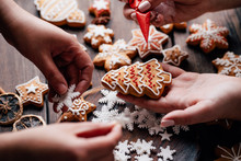 Christmas Bakery. Family Cooking Sweets, Decorating Traditional Gingerbread Cookies. Weekend Activities, Christmas And New Year Celebration Mood