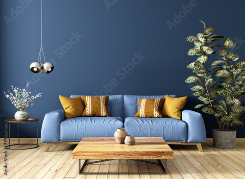 obraz PCV Modern interior of living room with sofa, wooden coffee table, against blue wall 3d rendering