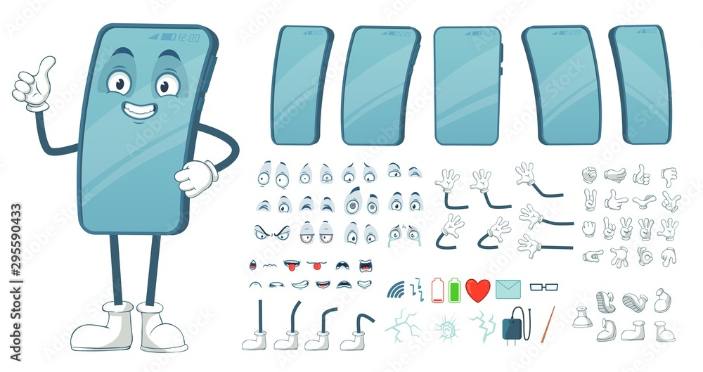 Fototapeta Cartoon smartphone mascot. Funny mobile phone character, smartphones screen with face legs and arms. Tablet gadget device display body constructor. Isolated vector illustration symbols bundle
