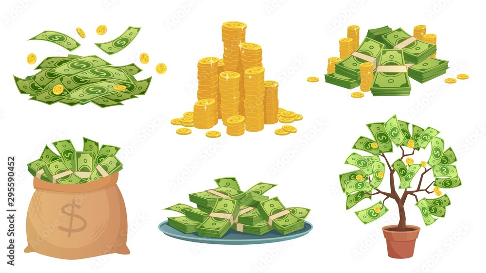 Fototapety, obrazy: Cartoon cash. Green dollar banknotes pile, rich gold coins and pay. Cash bag, tray with stacks of bills and money tree. Wealth savings or investment isolated vector illustration icons set