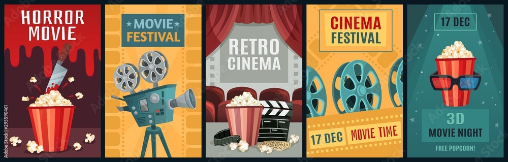 Fototapeta Movie poster. Horror film, cinema camera and retro movies night posters template. Old movie festival invitations cards, cinematography ticket or brochure vector illustration set